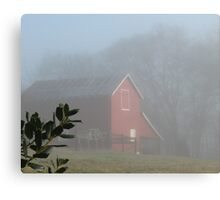 """""""Red Barn Through the Mist""""... prints and products Canvas Print"""