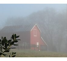 """Red Barn Through the Mist""... prints and products Photographic Print"