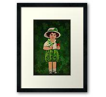 IRISH GIRL WITH MORNING BELLS & SHAMROCKS  Framed Print