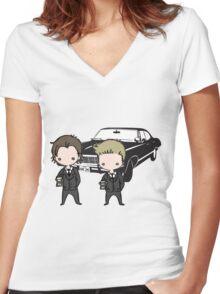 Supernatural Cartoon Dean & Sam Women's Fitted V-Neck T-Shirt