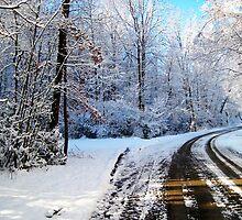 old snowy road by LoreLeft27