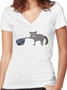 Raccoon stole my homework Women's Fitted V-Neck T-Shirt