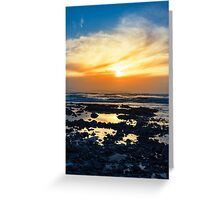 yellow reflections at rocky beal beach Greeting Card