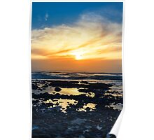 yellow reflections at rocky beal beach Poster