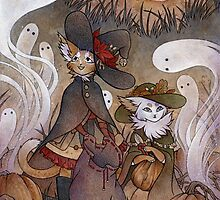 The Gathering - Kitten Witch Ghost Halloween by TeaKitsune