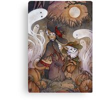 The Gathering - Kitten Witch Ghost Halloween Canvas Print
