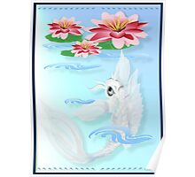 Silver Koi-Pink and Pink Lilies Poster