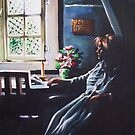 Woman by sunlit window by Dan Wilcox