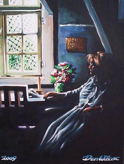 Woman by sunlit window by Dan Wilcox