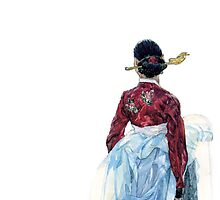 Lady wainting for someone by Kyunghwa Awa