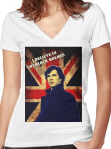 SherlockBelieveFlag Women's Fitted V-Neck T-Shirt