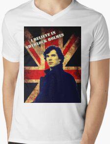 SherlockBelieveFlag Mens V-Neck T-Shirt