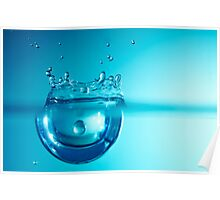 Droplet forming bubble, underwater Poster