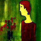 woman with bouquet by agnès trachet