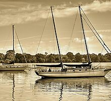 Boats On The Bay by Monte Morton