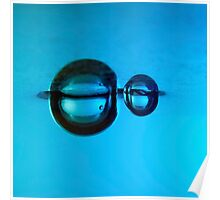 Water droplet forming bubbles underwate Poster