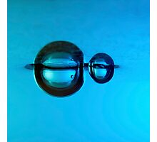 Water droplet forming bubbles underwate Photographic Print