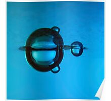 Water droplet forming bubbles underwater Poster