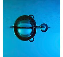 Water droplet forming bubbles underwater Photographic Print