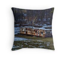 Abandoned Mobile Home Throw Pillow