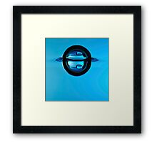 Droplet forming bubble, underwater view Framed Print