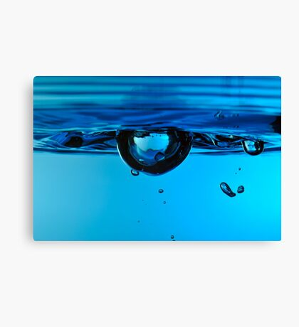 Droplet forming bubble, underwater Canvas Print