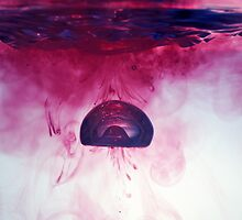 Red Droplet forming bubble, underwater by Sami Sarkis