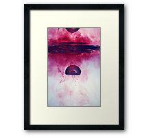 Red Droplet forming bubble, underwater Framed Print