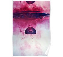 Red Droplet forming bubble, underwater Poster