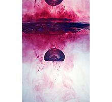 Red Droplet forming bubble, underwater Photographic Print