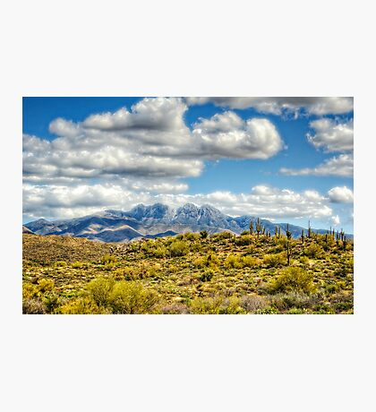 A Dusting of Snow on Four Peaks  Photographic Print