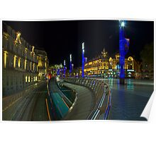 Place de la Comedie by Night in Montpellier, France Poster