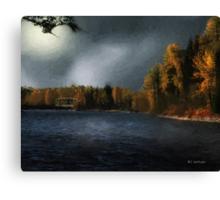 Metal Bridge in Moonlight Canvas Print