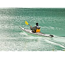 Canoeing on the magnificent Lake Louis Photographic Print