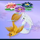 Gold and Silver Koi with Lilies by Lotacats