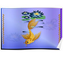Gold Koi and Deep Blue Lilies Poster