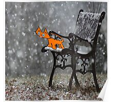 Cat Catches Snow Flakes O His Tong Poster