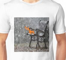 Cat Catches Snow Flakes O His Tong Unisex T-Shirt