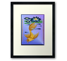Gold Koi and Deep Blue Lilies Framed Print