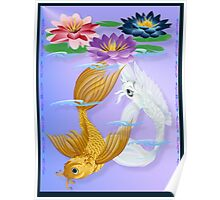Gold and Silver Koi with Lilies Poster