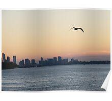 Sunset Over New York Harbor, Hudson River Poster