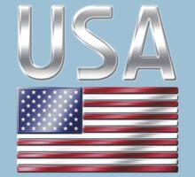 USA - American Flag & Text - Metallic One Piece - Short Sleeve