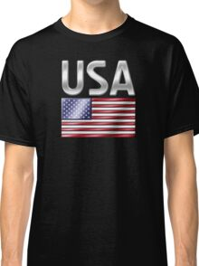 USA - American Flag & Text - Metallic Classic T-Shirt