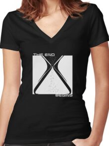 The End Begins (for black shirts) Women's Fitted V-Neck T-Shirt