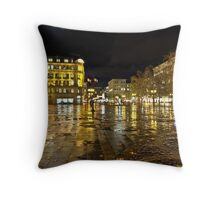 Building reflections in on the floor Throw Pillow