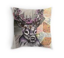 Stag Map Illustration Throw Pillow