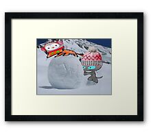 Two Cats Enjoy The Winter Framed Print