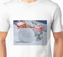 Two Cats Enjoy The Winter Unisex T-Shirt