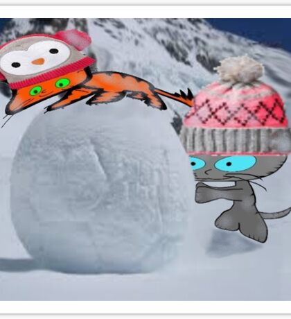 Two Cats Enjoy The Winter Sticker