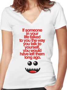 IF SOMEONE (RED) Women's Fitted V-Neck T-Shirt